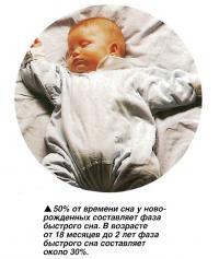 50% от времени сна у новорожденных составляет фаза быстрого сна
