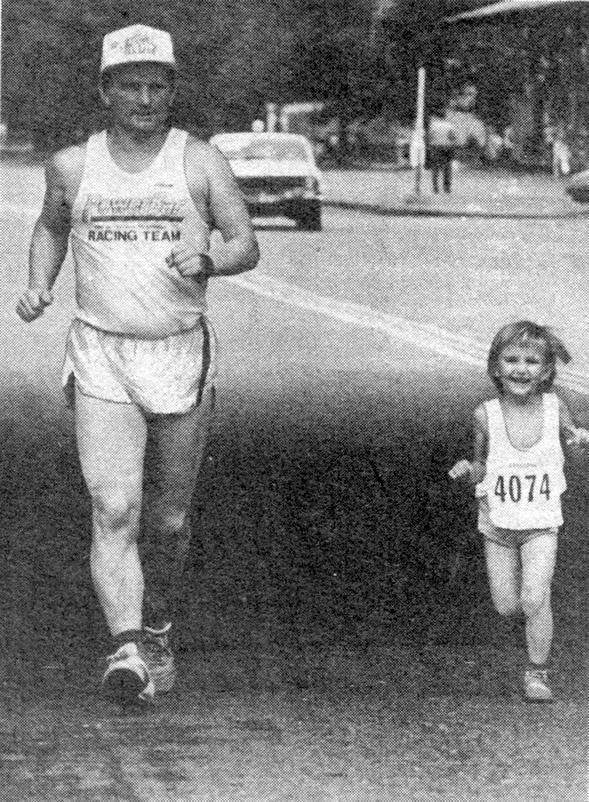 Алеша с папой на трассе марафона