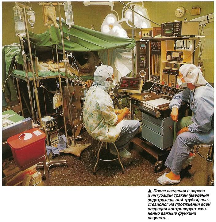 Анестезиолог на протяжении всей операции контролирует жизненно важные функции пациента.