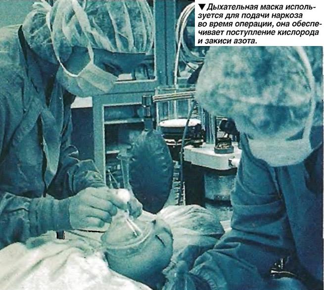 Дыхательная маска используется для подачи наркоза во время операции