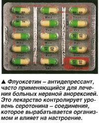 Флуоксетин - антидепрессант, применяющийся для лечения больных нервной анорексией