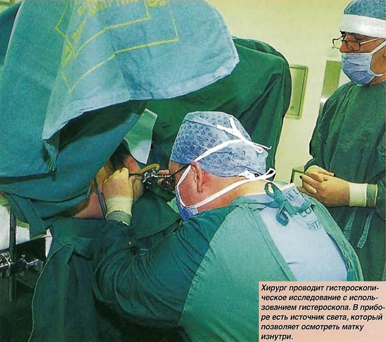 Хирург проводит гистероскопическое исследование с использованием гистероскопа
