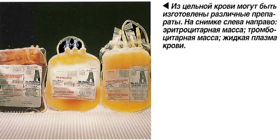 Из цельной крови могут быть изготовлены различные препараты