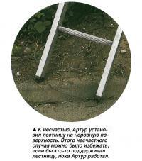 К несчастью, Артур установил лестницу на неровную поверхность