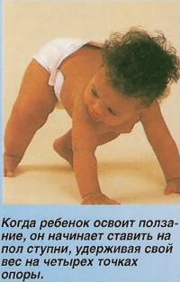 Когда ребенок освоит ползание, он начинает ставить на пол ступни