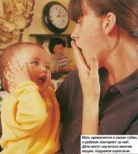 Мать прикасается к своим губам, а ребенок повторяет за ней