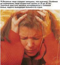 Мигренью чаще страдают женщины