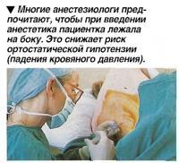 Многие анестезиологи предпочитают, чтобы при введении анестетика пациентка лежала на боку