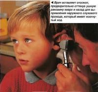 Осмотр уха с помощью отоскопа