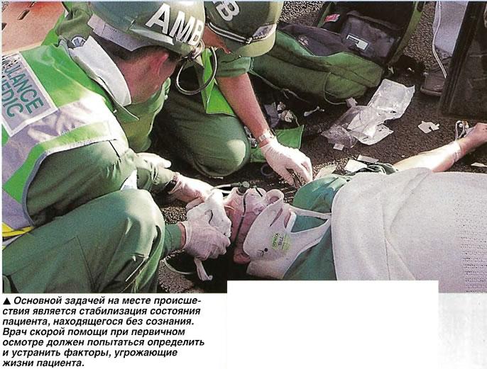 Основной задачей на месте происшествия является стабилизация состояния пациента