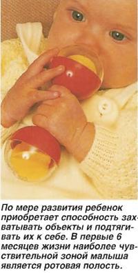 По мере развития ребенок приобретает способность захватывать объекты