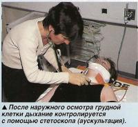 После наружного осмотра грудной клетки дыхание контролируется с помощью стетоскопа
