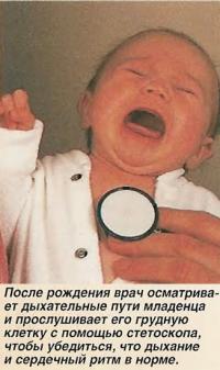 После рождения врач осматривает дыхательные пути младенца