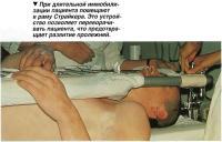 При длительной иммобилизации пациента помещают в раму Страйкера.