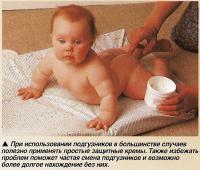 При использовании подгузников в большинстве случаев полезно применять простые защитные кремы