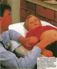 При подозрении на аппендицит врач проводит обследование брюшной полости
