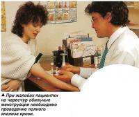При жалобах пациентки на чересчур обильные менструации необходимо проведение полного анализа крови