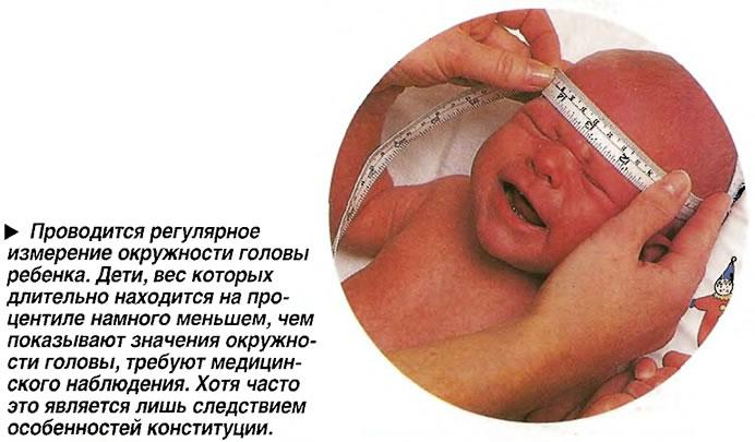Проводится регулярное измерение окружности головы ребенка