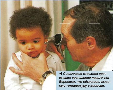 С помощью отоскопа врач выявил воспаление левого уха