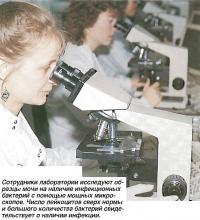 Сотрудники лаборатории исследуют образцы мочи