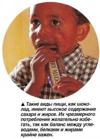 Такие виды пищи, как шоколад, имеют высокое содержание сахара и жиров