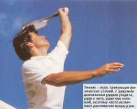 Теннис - игра, требующая физических усилий с широким диапазоном ударов