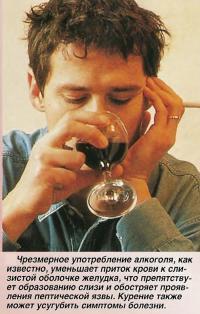 Употребление алкоголя препятствует образованию слизи и обостряет проявления пептической язвы