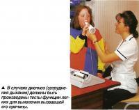 В случаях диспноэ должны быть произведены тесты функции легких