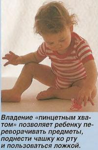 Владение «пинцетным хватом» позволяет ребенку переворачивать предметы