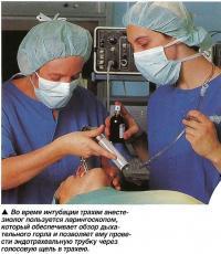 Во время интубации трахеи анестезиолог пользуется ларингоскопом